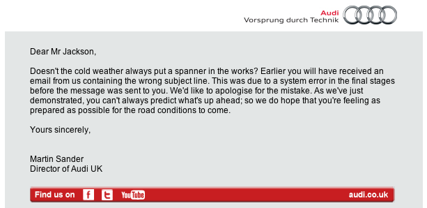 Audi's conflicting email blast - email 2