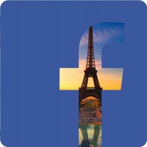 Facebook logo with the Eiffel Tower
