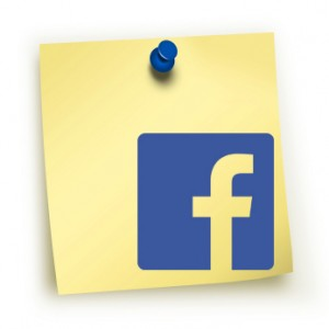 The new Facebook logo on a post it