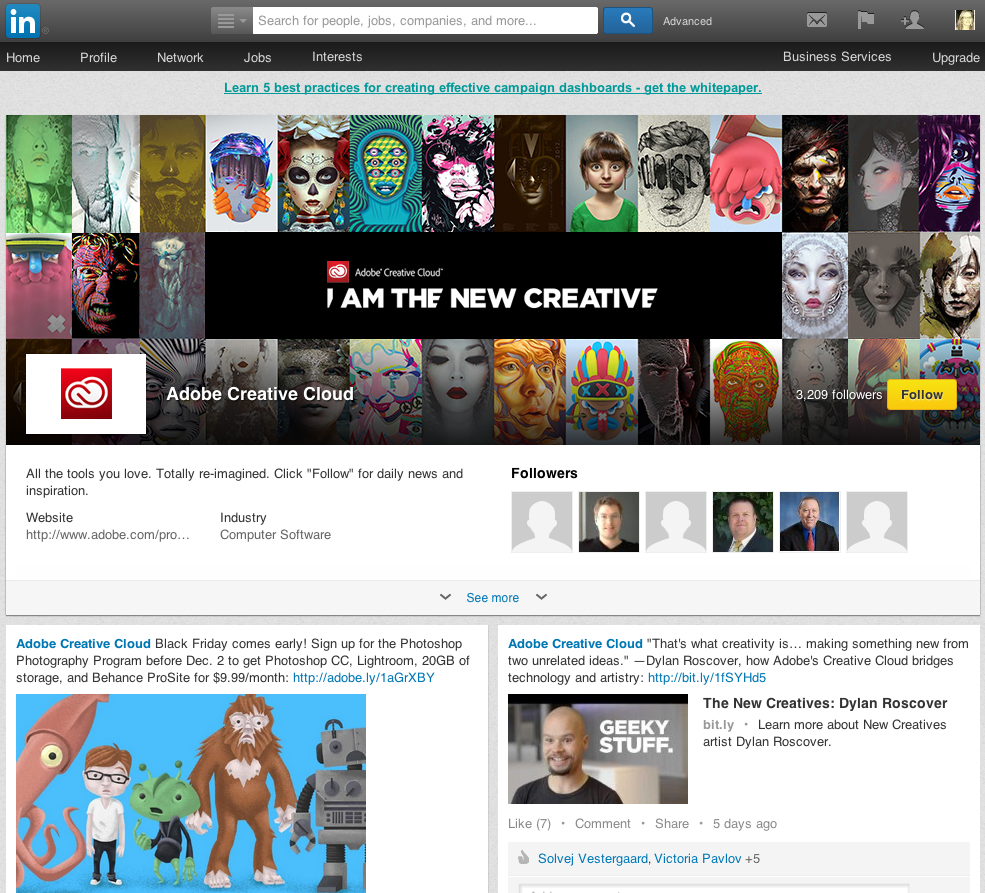 Adobe Showcase Page - what it looks like