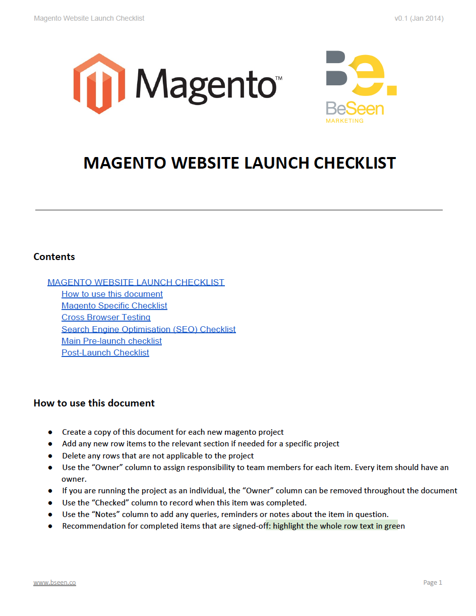 Magento Website Launch Checklist - Page 1 Screenshot