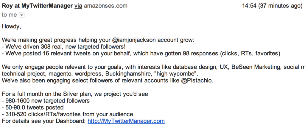 MyTwitterManager Growth Hacking progress report email