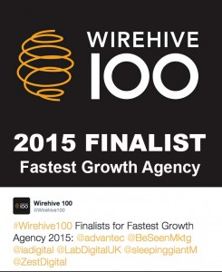 The Tweet from Wirehive 100 anouncing BeSeen as finalists